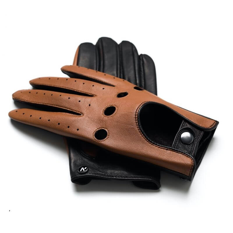 napoDRIVE (brown/camel) - Men's driving gloves without lining made of lamb nappa leather