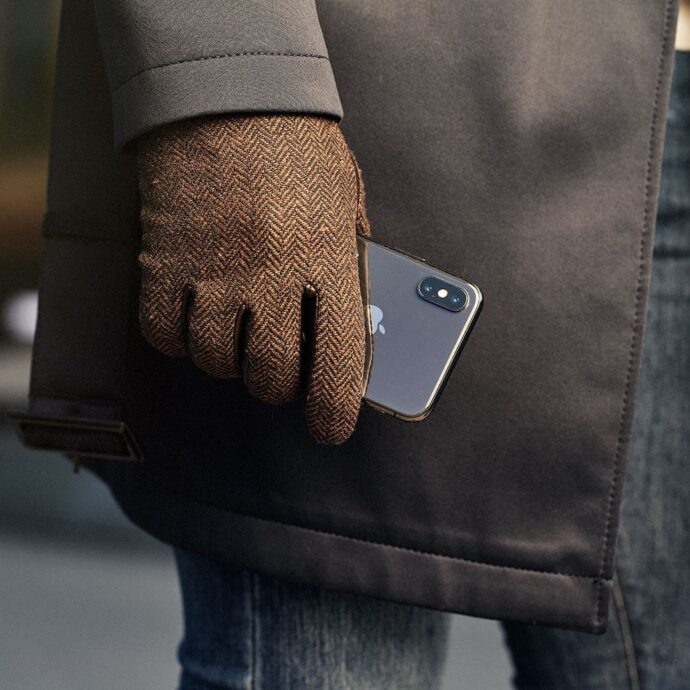 Brown gloves for men