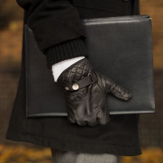 Black touchscreen gloves for men