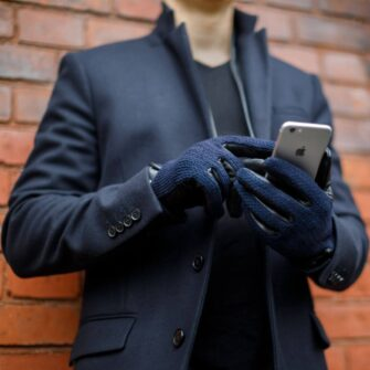 Dark blue gloves for men napoWOOL