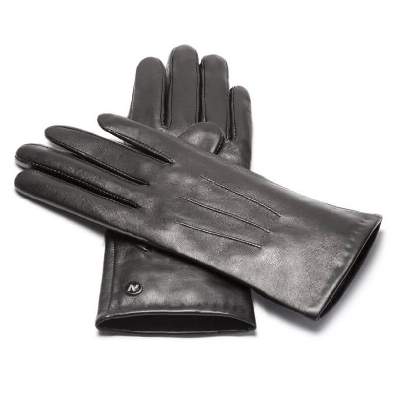napoCLASSIC (black) - Women's gloves with lining made of lamb nappa leather