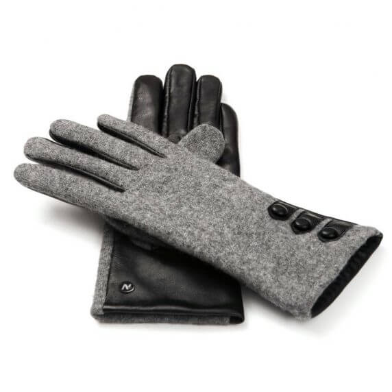 napoFELT (black/grey) - Women's gloves with lining made of lamb nappa leather