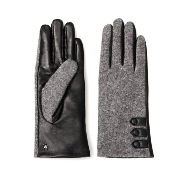 napoFELT (black/grey) - Women's gloves with lining made of lamb nappa leather #2