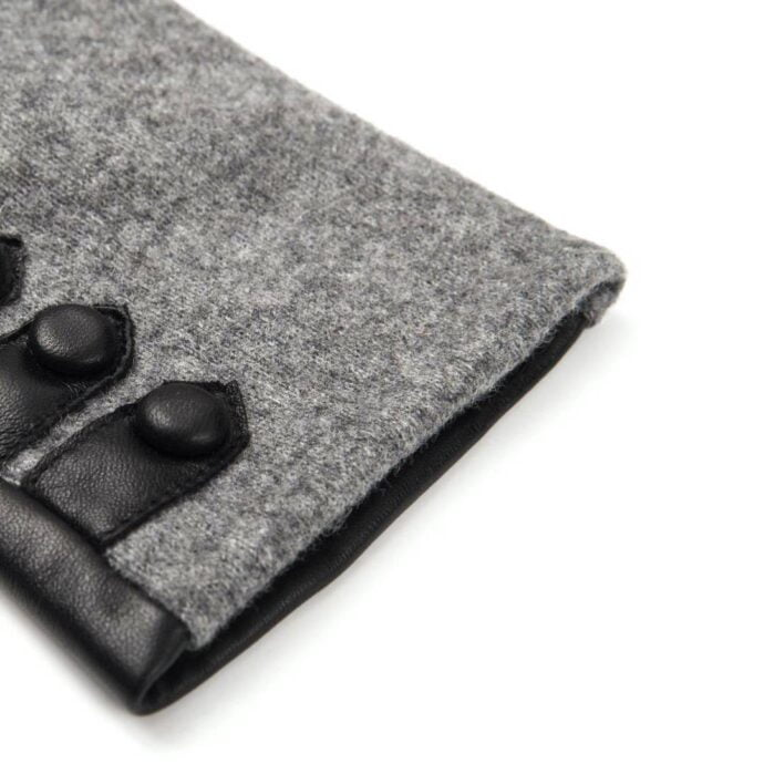 napoFELT (black/grey) - Women's gloves with lining made of lamb nappa leather #3