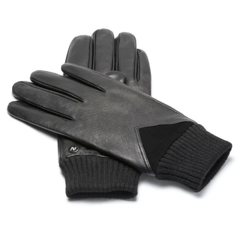 napoSPORT (black) - Men's gloves with lining made of lamb nappa leather