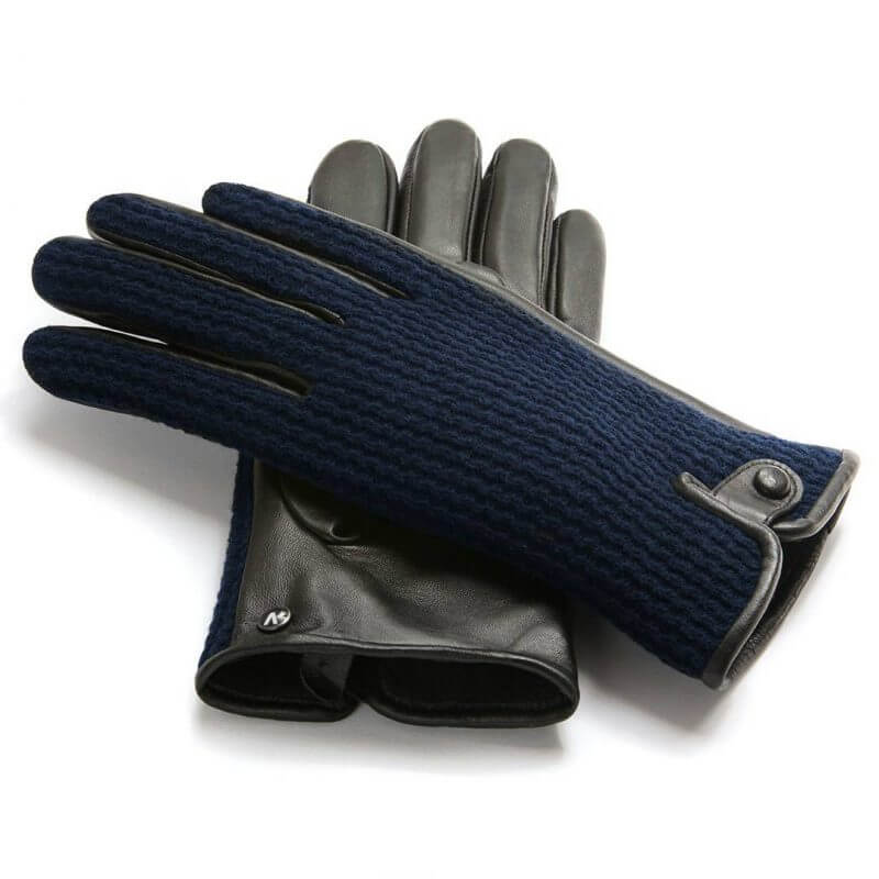 napoWOOL (black/dark blue) - Men's gloves with lining made of lamb nappa leather