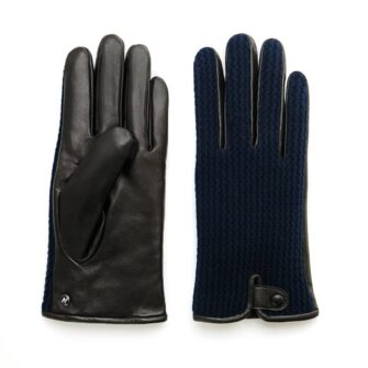 napoWOOL (black/dark blue) - Men's gloves with lining made of lamb nappa leather #2