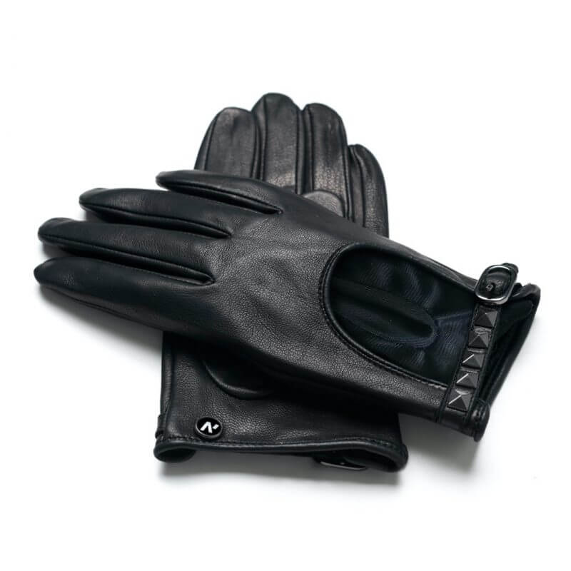 napoROCK (black) - Women's driving gloves with thin lining made of natural lamb nappa leather