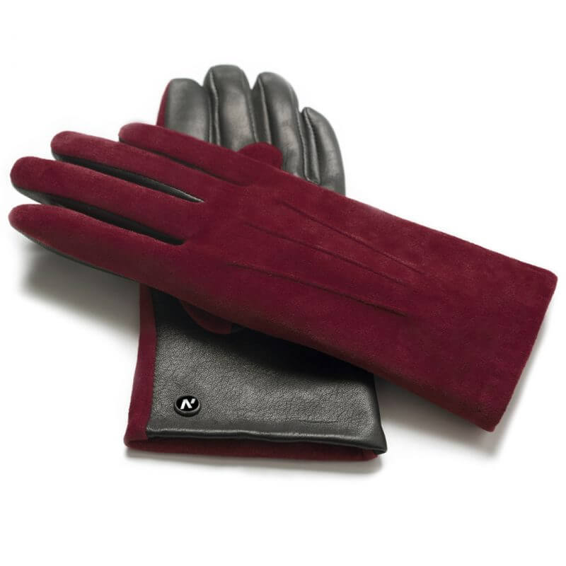 napoROSE (black/wine) - Women's gloves with lining made of lamb nappa leather