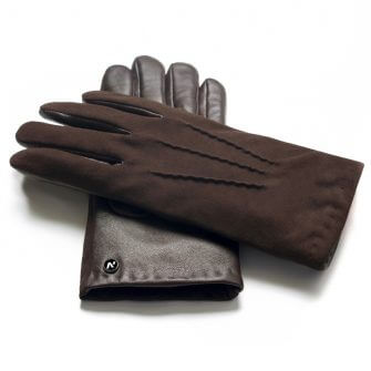 napoSUEDE (brown) - Men's gloves with cashmere lining made of lamb nappa leather