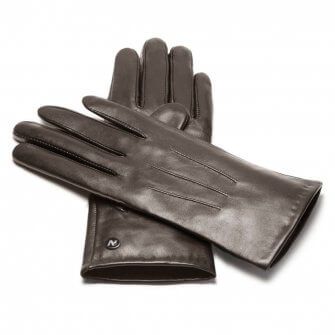 napoCLASSIC (brown) - Women's gloves with lining made of lamb nappa leather