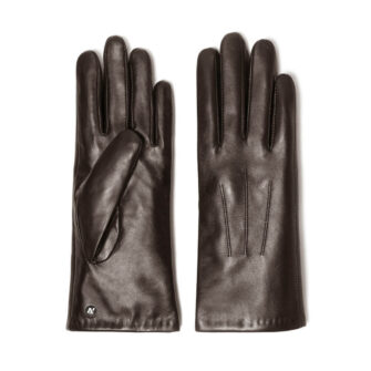 napoCLASSIC (brown) - Women's gloves with lining made of lamb nappa leather #2
