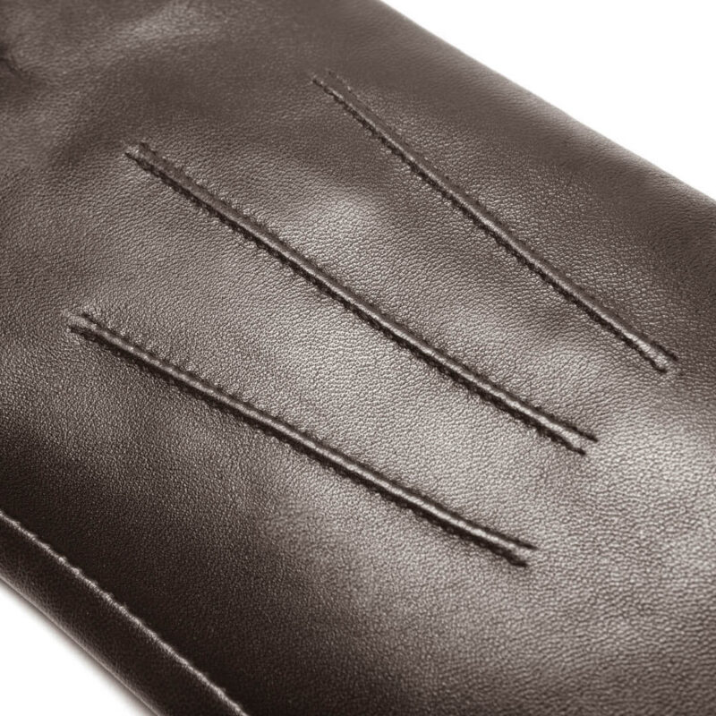 napoCLASSIC (brown) - Women's gloves with lining made of lamb nappa leather #3