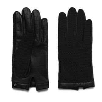 napoCROCHET (black) - Men's driving gloves without lining made of lamb nappa leather #2