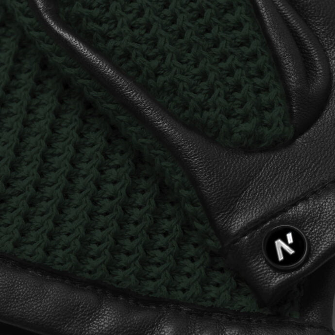napoCROCHET (black/green) - Men's driving gloves without lining made of lamb nappa leather #3