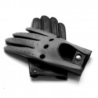 napoDRIVE (black/grey) - Men's driving gloves without lining made of lamb nappa leather