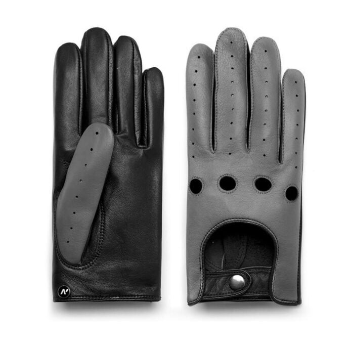 napoDRIVE (black/grey) - Men's driving gloves without lining made of lamb nappa leather #2