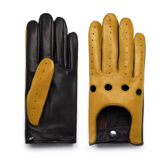 napoDRIVE (brown/yellow) - Men's driving gloves without lining made of lamb nappa leather #2