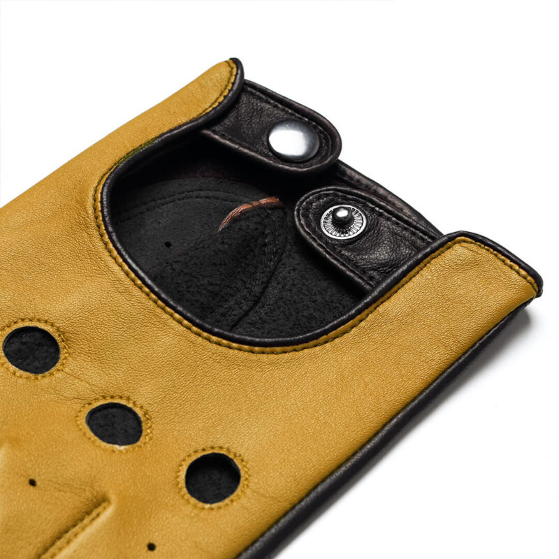 napoDRIVE (brown/yellow) - Men's driving gloves without lining made of lamb nappa leather #3