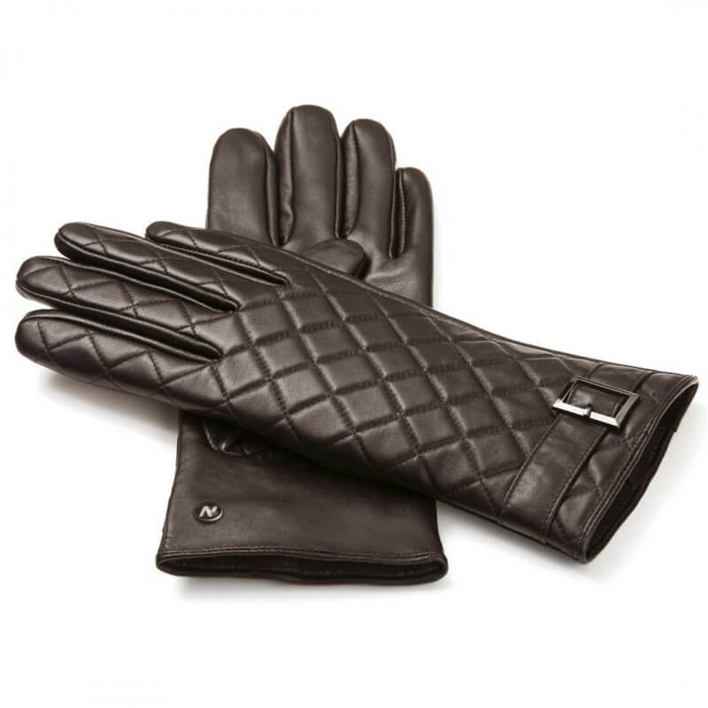 napoELEGANT (brown) - Women's gloves with lining made of lamb nappa leather