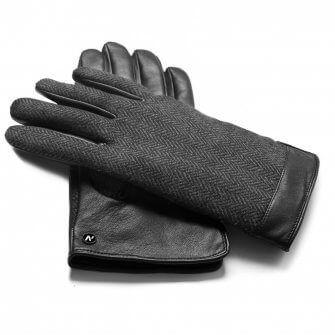 napoGENT (black/grey) - Men's gloves with lining made of lamb nappa leather