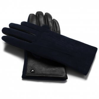 napoROSE (black/dark blue) - Women's gloves with lining made of lamb nappa leather