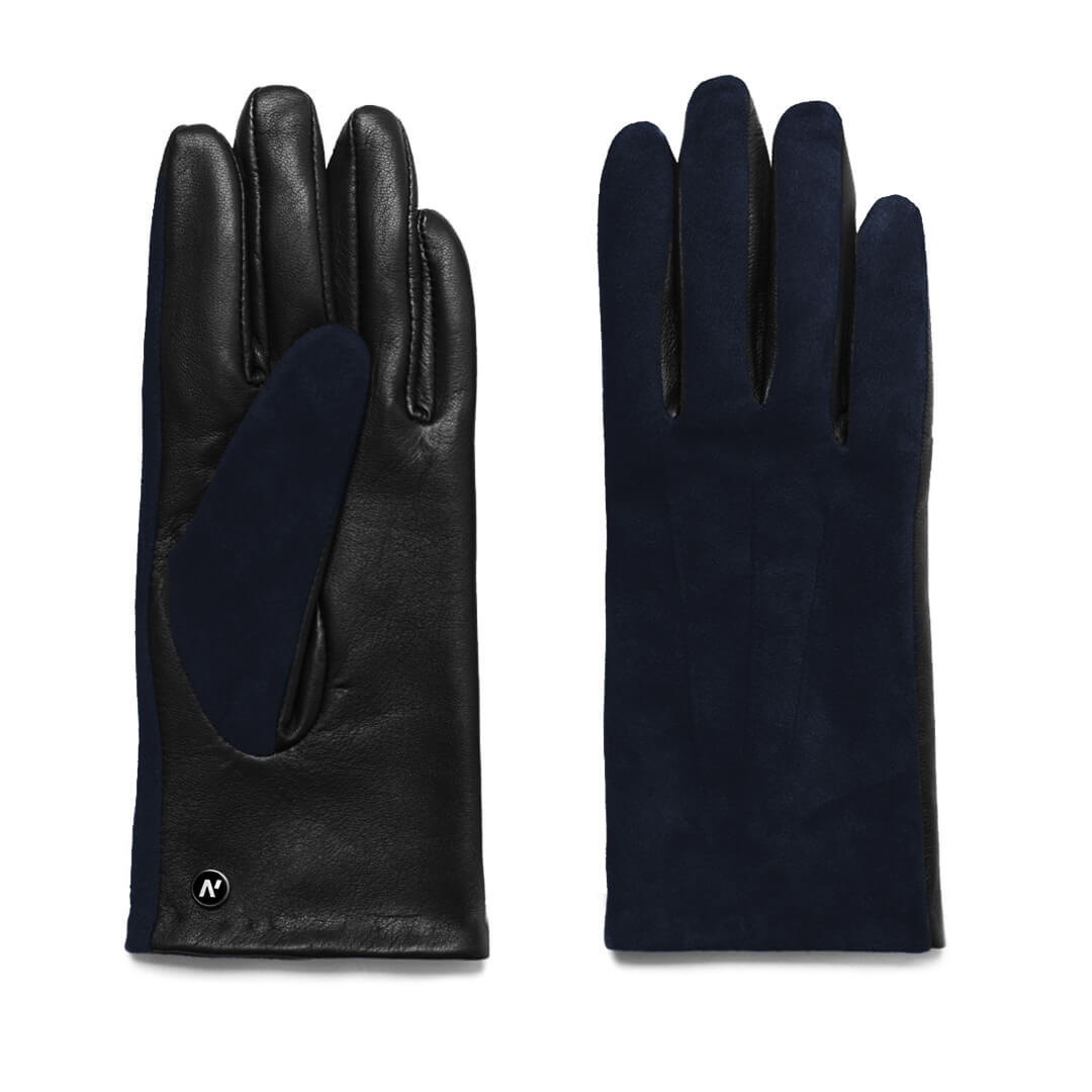 napoROSE (black/dark blue) - Women's gloves with lining made of lamb nappa leather #2