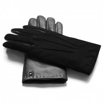 napoSUEDE (black) - Men's gloves with cashmere lining made of lamb nappa leather