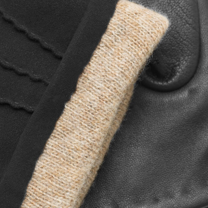 napoSUEDE (black) - Men's gloves with cashmere lining made of lamb nappa leather #3