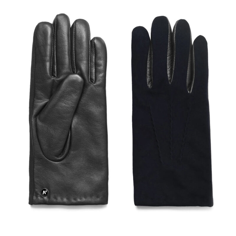 napoSUEDE (black/dark blue) - Men's gloves with cashmere lining made of lamb nappa leather #2