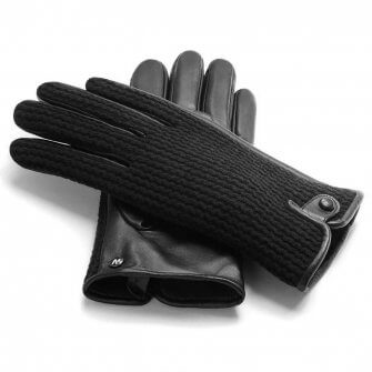 napoWOOL (black) - Men's gloves with lining made of lamb nappa leather